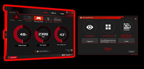 UI of GPU Tweak II