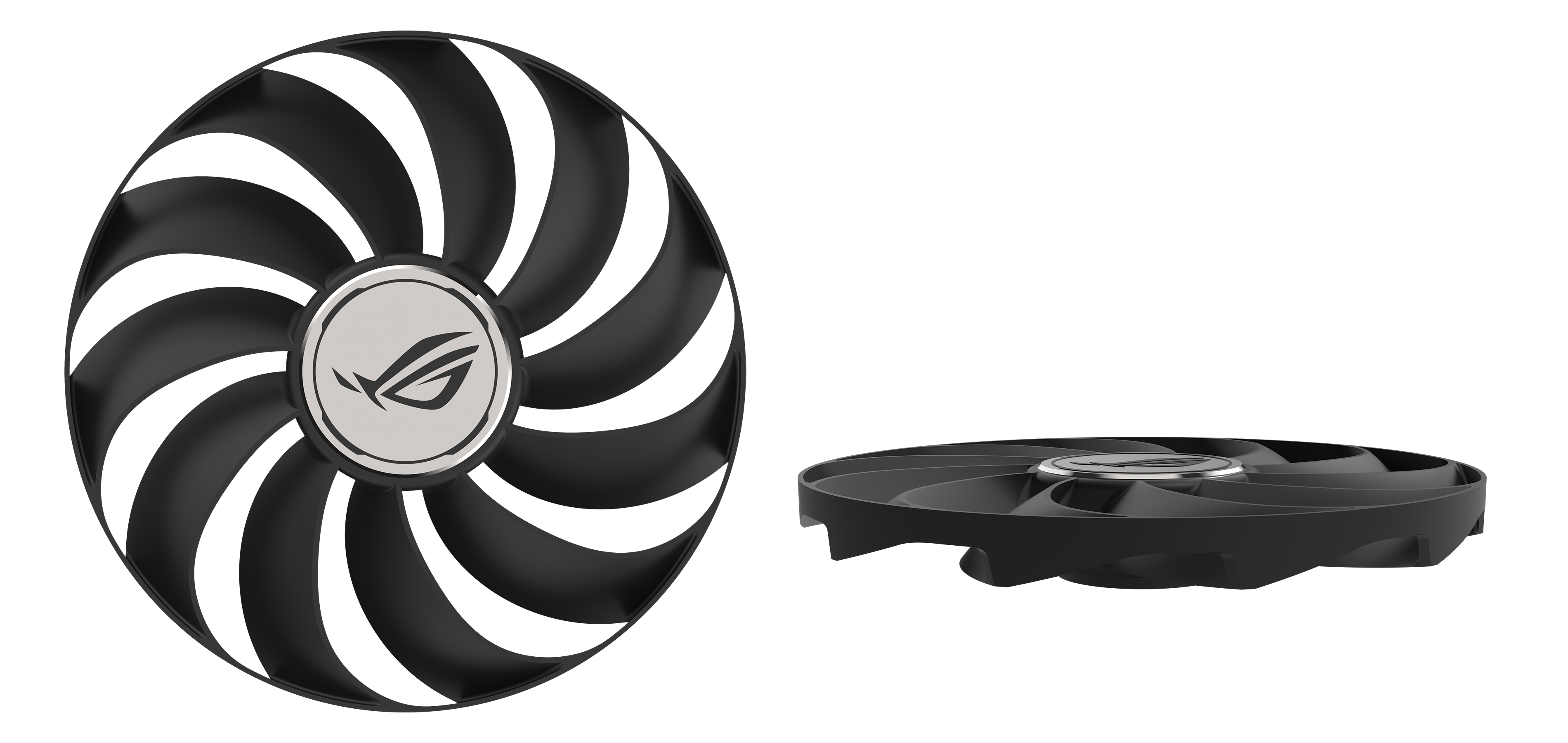 Voor- en zijaanzicht van Axial-tech ventilatoren