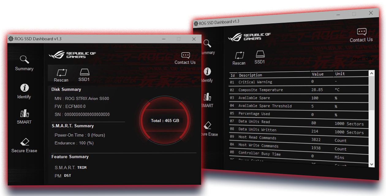 User interface of ROG SSD dashboard for easy drive management