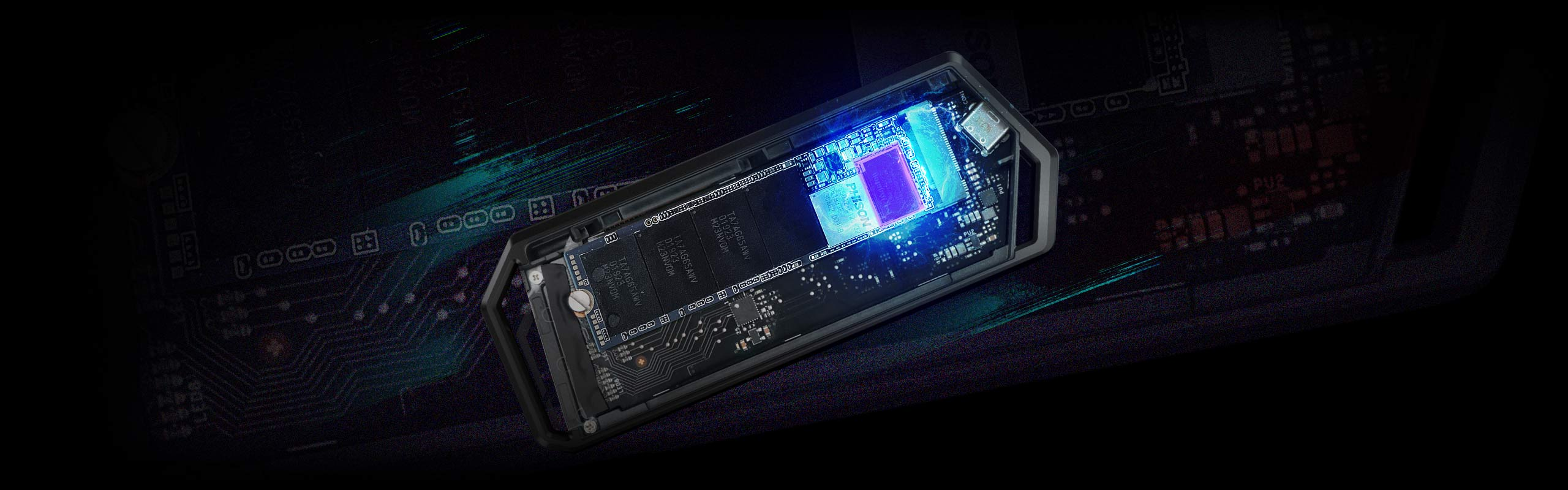 Internal look of ROG Strix Arion S500 with a DRAM and large SLC cache