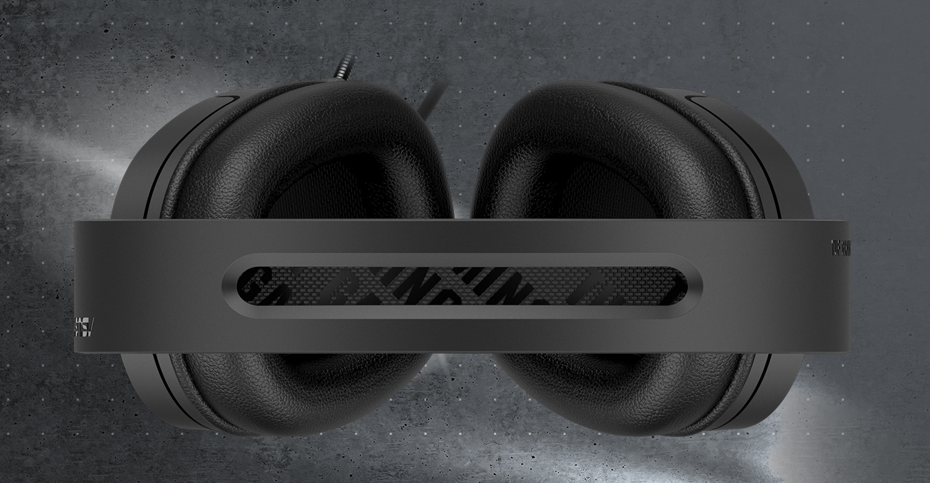 The top angle of TUF Gaming H1 highlights its suspension headband.