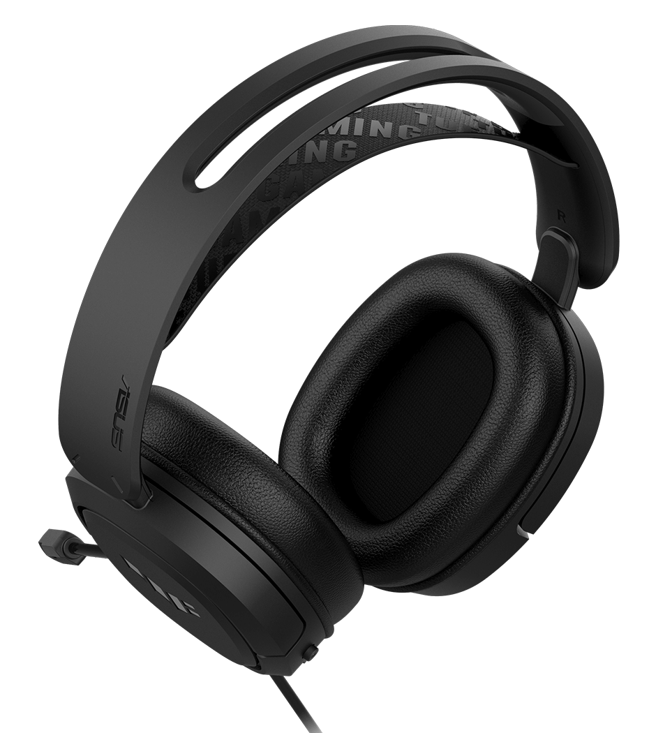 TUF Gaming H1 headset is floating above the soundwave in the background of gameplay scenario.