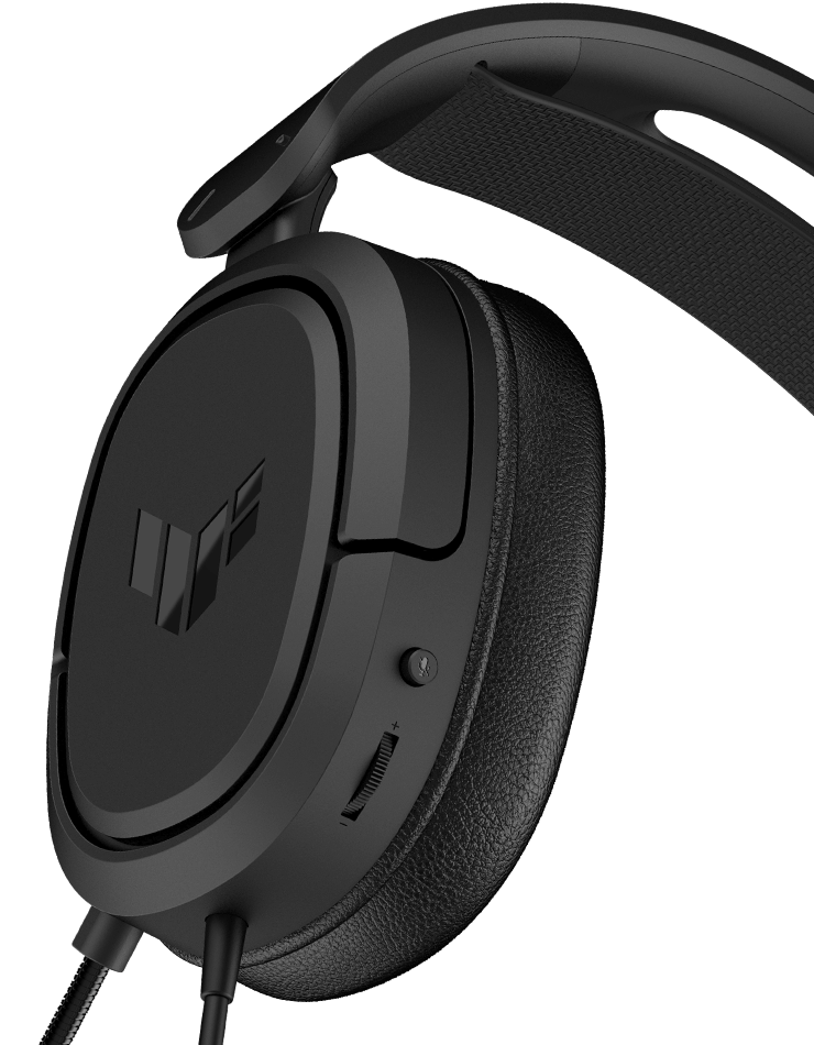 TUF Gaming H1 Wireless features instant control and demonstrate the position of buttons, the top button is microphone on and off and the second one is volume control