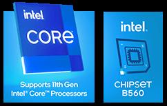 intel CORE, Supports 11th Gen Intel Core Processors; intel CHIPSET B560