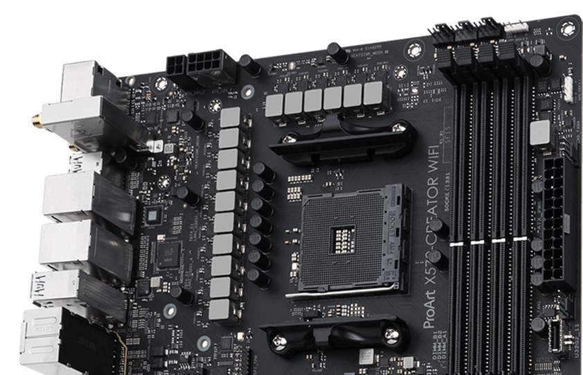 The ProArt X570-Creator WiFi motherboard offers robust power delivery with 14+2 power stages.