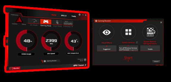 Interfaz de usuario de GPU Tweak II