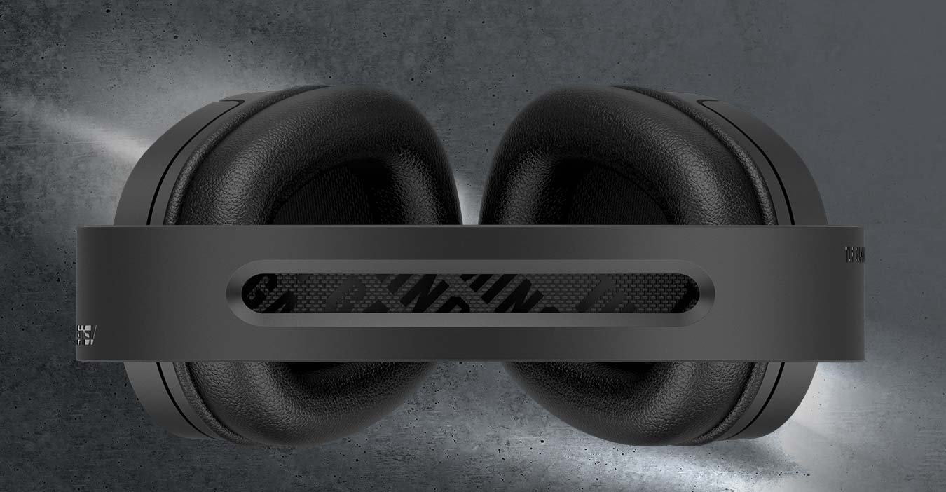 The top angle of TUF Gaming H1 Wireless highlights its suspension headband.