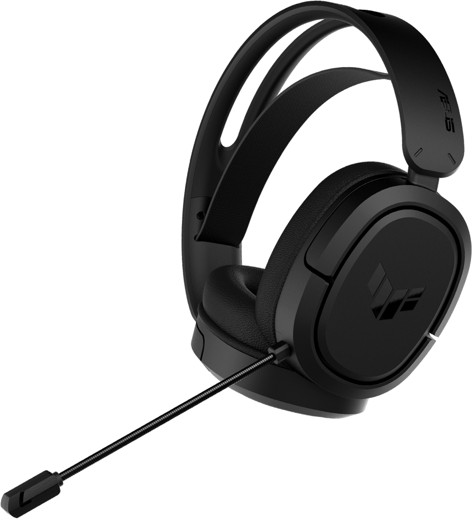 TUF Gaming H1 Wireless headset with its wireless dongle on the left side.