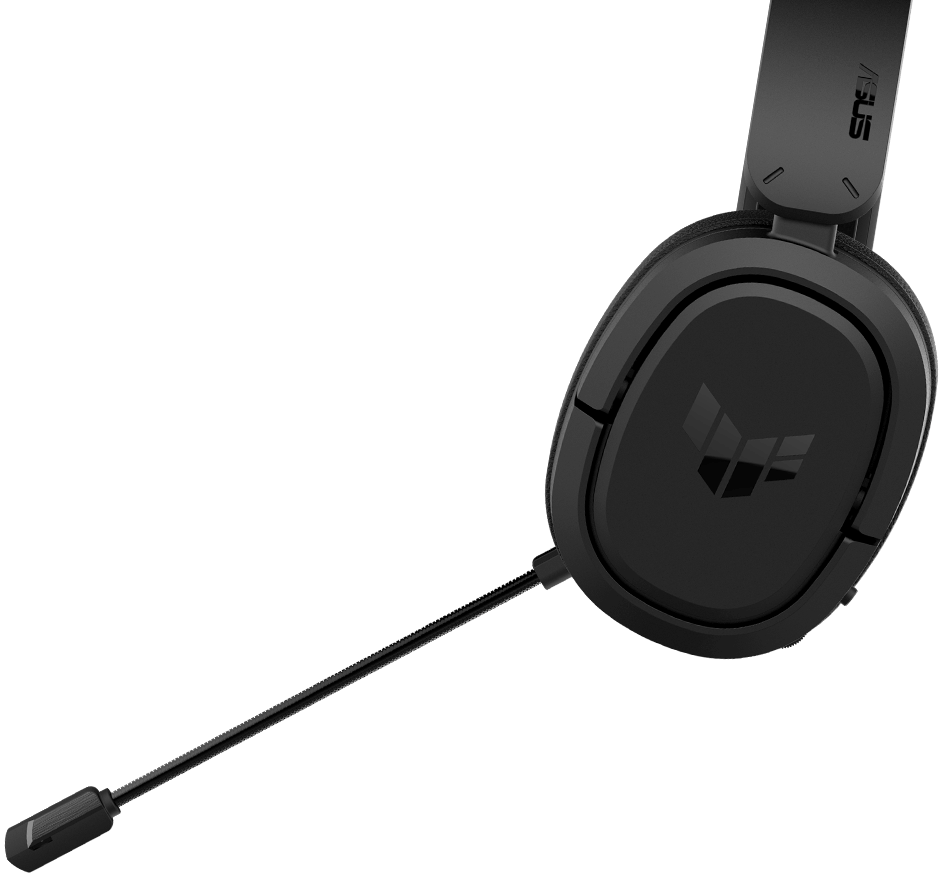 The left side angle of TUF Gaming H1 Wireless highlights its microphone with animation and icons of Discord and TeamSpeak.