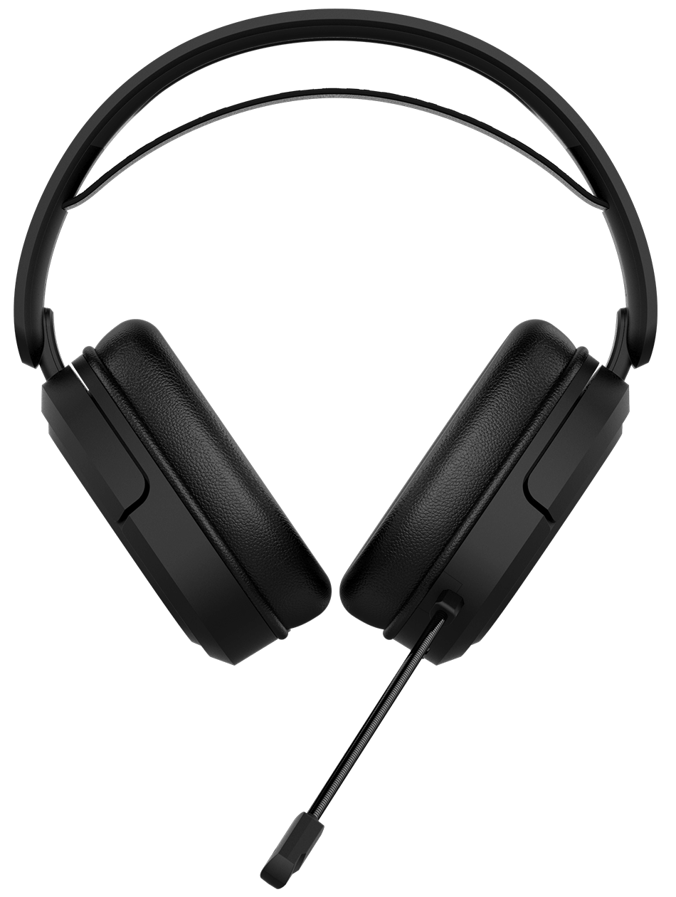 The front angle of TUF Gaming H1 Wireless features its long battery life for 15 hours nonstop gaming and 8 days for casual game play.
