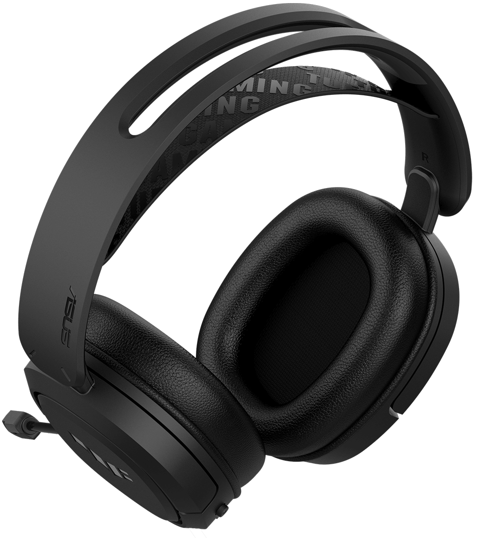 TUF Gaming H1 Wireless is floating above the soundwave in the background of gameplay scenario.