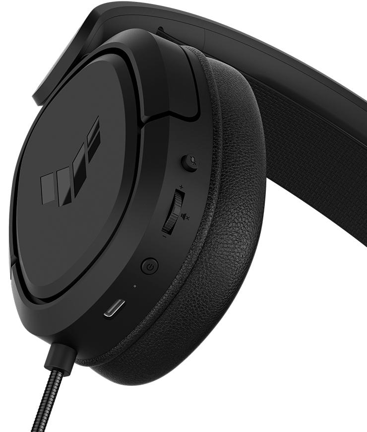 TUF Gaming H1 Wireless features instant control and demonstrate the position of buttons, the top button is microphone on and off, the second one is volume control, third one is power switch, fourth one is the status indicator light for power and charging and the last one is power charging port.