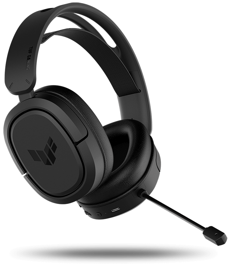 TUF Gaming H1 Wireless headset is floating above the circle animation to highlight the extensive wireless coverage of up to 25 meters.