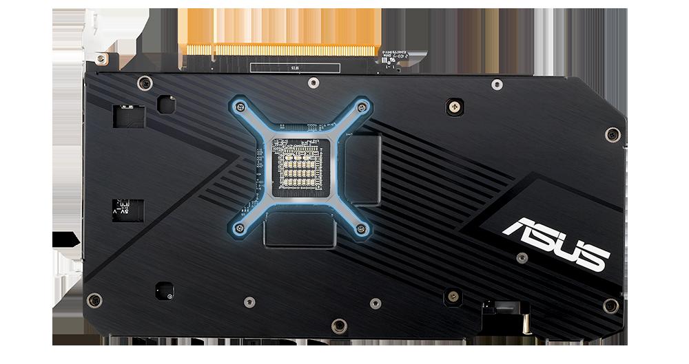 Zadní strana karty Dual Radeon™ RX 6700 XT, se zaměřením na držák GPU
