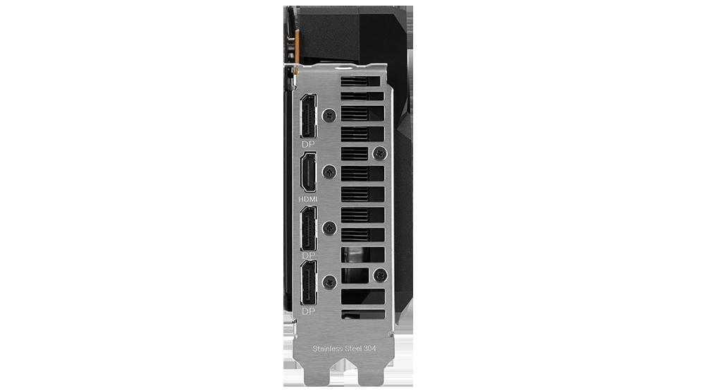 Boční strana karty Dual Radeon™ RX 6700 XT, na které je vidět držák z nerezové oceli