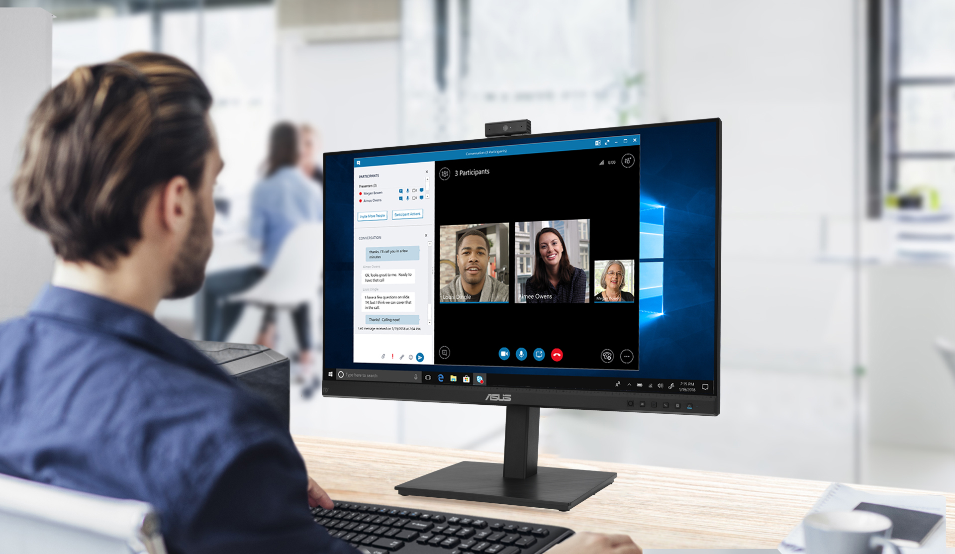 BE279QSK is a 27-inch Full HD monitor that features an integrated Full HD (2MP) webcam, microphone array and stereo speakers for video conferencing and live-streaming.
