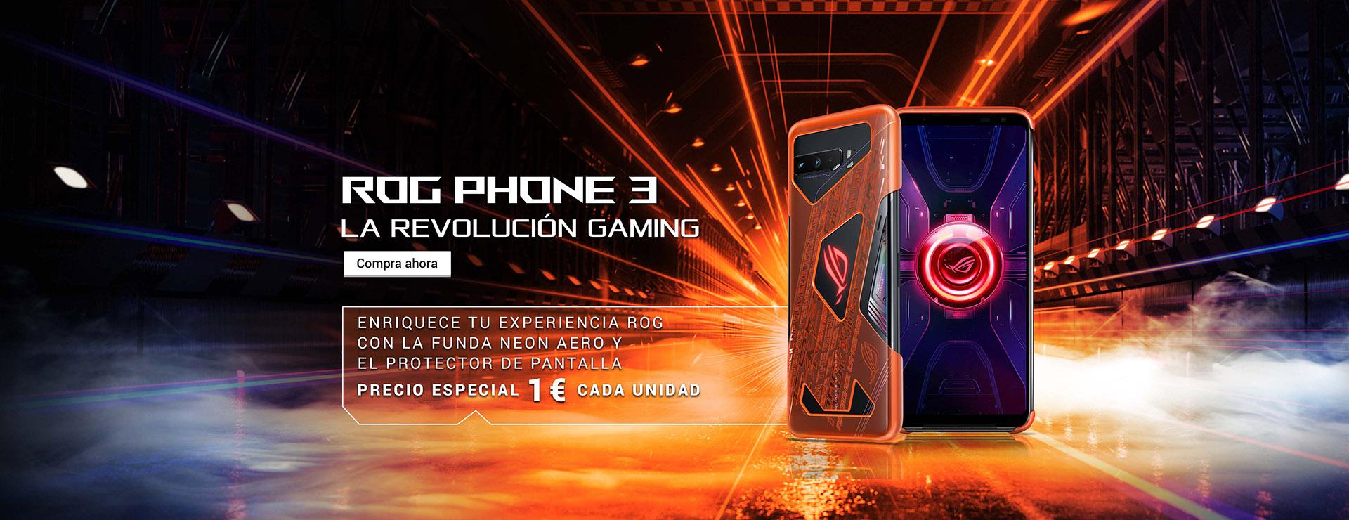 ROG Phone 3 con funda Neon Aero y protector de pantalla por 1€ más